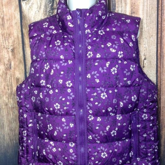 93bac9d93c Laura Scott Purple Floral Quilted Puffer Vest